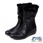 【IMAC】義大利進口毛飾輕量氣墊女靴/中筒靴  黑色(206260-BL)