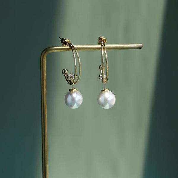 新品鍍金人造珍珠耳環女時尚簡約C形可拆卸多種戴法耳釘珍珠耳墜