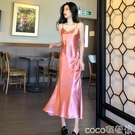 魚尾連身裙氣質長裙夏季2020新款復古緞面魚尾裙顯瘦修身V領吊帶裙連身裙女
