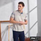 【JEEP】HiCool吸濕排汗細條紋短袖TEE(灰條紋)