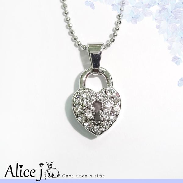 韓系風 甜美愛心鎖頭滿滿鑲鑽 項鍊