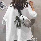 INS腰包女2019新款卡通原宿學生運動胸包潮韓版百搭帆布小挎包包  (PINKQ)