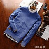 秋季保暖毛衣男秋冬款男士修身針織衫青年日繫純色長袖套頭線衣潮 千惠衣屋