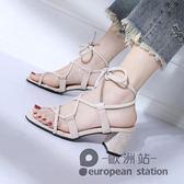 涼鞋/羅馬女夏綁帶粗跟高跟鞋繫帶復古