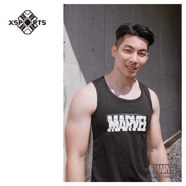 MARVEL漫威服飾 錯位LOGO設計 無袖上衣 運動籃球背心 機能運動服飾 吸濕排汗 [M191802]