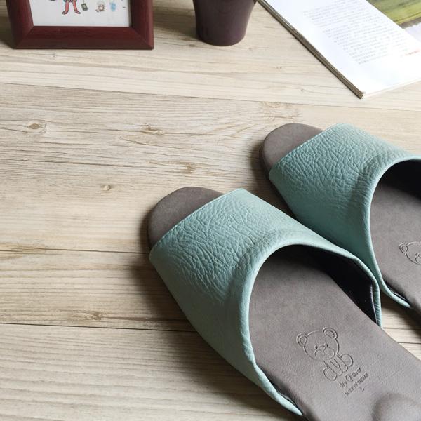 台灣製造-風格系列-荔枝紋皮質室內拖鞋-藍
