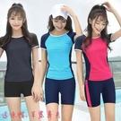 大尺碼泳裝 韓版泳衣女兩件式平角運動款保守顯瘦遮肚小胸聚攏大尺碼學生泳裝溫泉