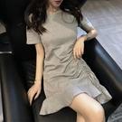 大尺码女装 胖妹妹大碼連衣裙夏裝新款復古港風修身顯瘦抽繩荷葉邊桔梗裙