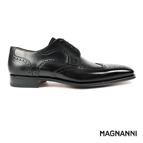 【MAGNANNI】翼紋雕花紳士皮鞋 黑色(13974-BL)