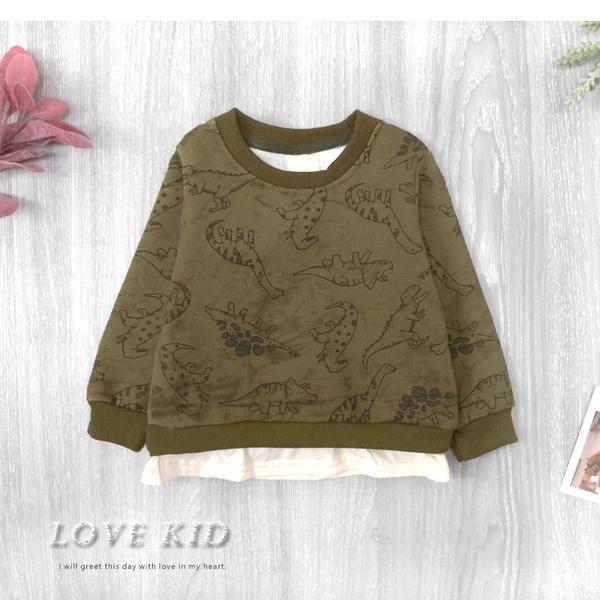 純棉 挺版復古恐龍印花荷葉邊下擺縮口刷毛T 墨綠 假兩件 保暖 男童上衣 厚 兒童長袖 冬童裝