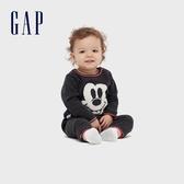 Gap嬰兒 時尚迪士尼織紋一體式包屁衣 599850-深石楠灰