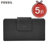 FOSSIL Emma 黑色真皮RFID 搭扣長夾 SL7154001