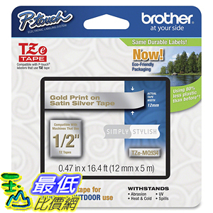 [107美國直購] Brother 標籤機標籤帶 Tape, Gold on Satin Silver (TZMQ934) - Retail Packaging