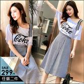 克妹Ke-Mei【AT46950】歐美時髦感 織帶字母露肩T恤+腰帶直紋裙洋裝