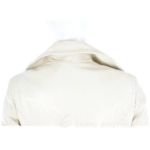 CLASS roberto cavalli 米白色拉鍊皮外套 0940255-03