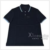 PRADA黑白橡膠LOGO藍白條紋設計純棉短袖POLO衫(M/L/午夜藍)