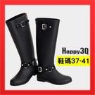 【火速出貨】防水長靴 長筒靴 雨靴 雨鞋 後拉鍊 馬靴時尚雨靴防水軍靴雨天-黑40【AAA2193】