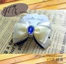 【YT店髮飾】藍白優雅貴氣緞帶蝴蝶結髮夾/髮飾/頭飾/彈簧夾(G017)