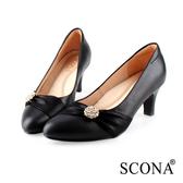 SCONA 蘇格南 全真皮 精緻典雅鑽飾高跟鞋 黑色 31008-1