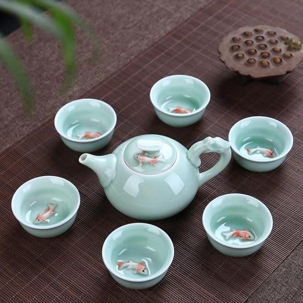 陶瓷整套組功夫茶具6人冰裂陶瓷茶壺蓋碗 麻吉部落