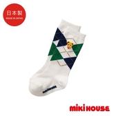 MIKI HOUSE 日本製 普奇熊菱格中筒襪