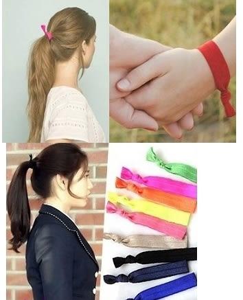 《緞帶手環髮圈》韓劇打結髮繩鬆緊髮束髮圈髮飾手環橡皮筋【TwinS伯澄】