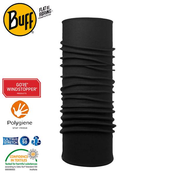 【BUFF 西班牙 Windproof防風頭巾 Plus 極簡黑】118824/圍脖/帽子/口罩/圍巾/防風透氣