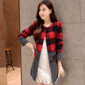 【GZ32】毛呢外套 秋冬韓版女裝時尚顯瘦格子羊絨風衣長版毛呢外套大衣