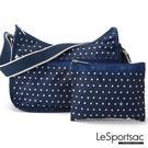 LeSportsac - Standard 側背水餃包/流浪包-附化妝包 (藍底白點) 7520P F969
