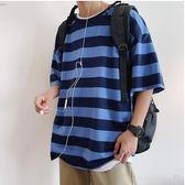 港風短袖t恤男韓版潮流夏季五分袖上衣百搭條紋半袖男寬鬆衣服 韓國時尚週