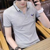 男士短袖t恤翻領打底衫男青年潮流T恤上衣服夏季新款polo男裝半袖   夢曼森居家