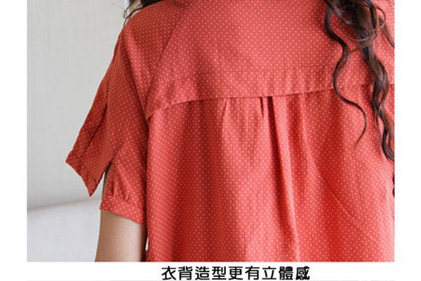 日系寬鬆亞麻星點款連衣裙