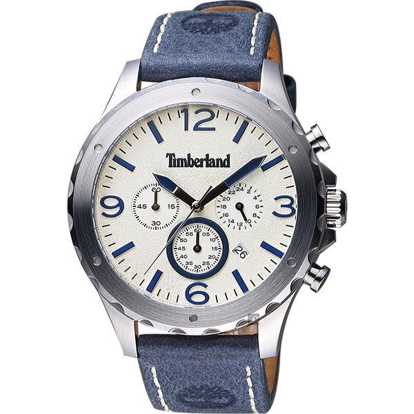 Timberland Warner 慢跑生活計時腕錶-米x藍/46mm TBL.14810JS/07