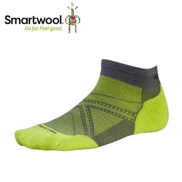 【美國 SmartWool Phd菁英減震型跑步低筒襪 《石墨灰/綠》】SW0SW243/保暖/戶外/運動襪