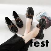 小皮鞋 英倫復古粗跟黑色女韓版百搭休閒鞋 艾米潮品館