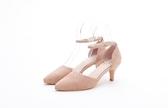 MICHELLE PARK 優雅魅力麂皮羊皮釦帶繫踝金屬跟鞋-膚色