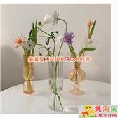 風條紋花瓶 創意透明玻璃擺件插花器皿北歐風簡約水培家居裝飾【樂淘淘】