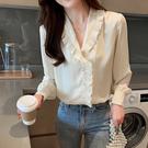 VK精品服飾 韓國風氣質V領波浪邊時尚雪紡衫單品長袖上衣