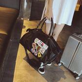 防水牛津紡手提旅行袋登機包出差包徽章男士健身包女士瑜伽包大包