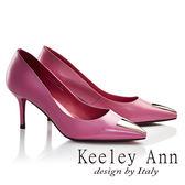 ★2017春夏★Keeley Ann摩登時尚~三角幾何造型飾釦真皮細高跟鞋(桃紅色)-Ann系列