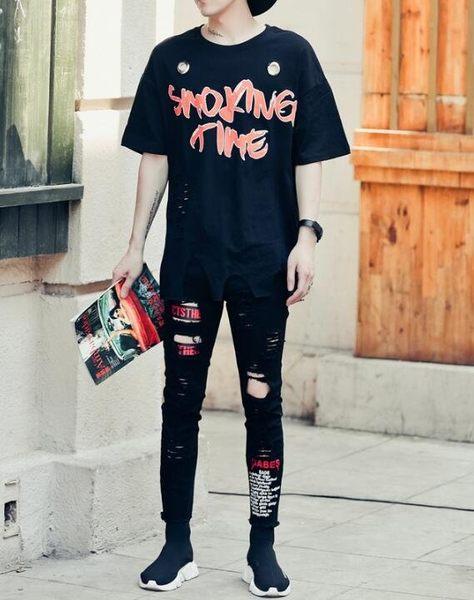 找到自己 MD 韓國 潮 男 嘻哈 街頭時尚 鐵圈裝飾 字母印花 另類 夜店DJ發型師 短袖T恤 特色短T