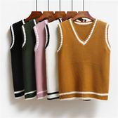 韓版馬甲女春裝chic短款無袖上衣針織衫v領毛線衣學院風背心學生 免運