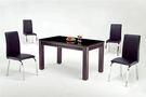 HY-758-3   喜樂玻璃餐桌- 8mm強化黑玻-胡桃色腳-附2只小抽屜-單台