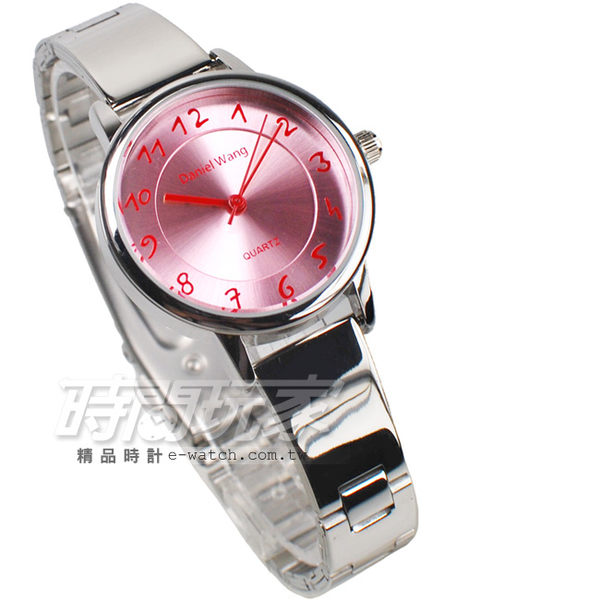 Daniel Wang 簡約城市風格 女錶 粉色 粉紅/桃紅 防水手錶 數字錶 DW3139粉