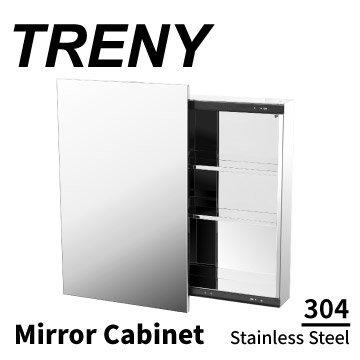 [家事達]TRENY - 0523E 浴室鏡箱-滑門-不鏽鋼 浴室收納鏡 衛浴用品收納 三層收納 衛浴室 置物架