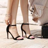 歐美2019夏季新款一字帶扣細跟涼鞋女黑色高跟鞋絨面百搭露趾女鞋  米娜小鋪