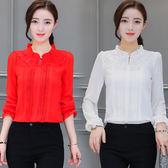 2018春新款女士雪紡衫長袖立領蕾絲拼接打底衫春季修身襯衫上衣『韓女王』