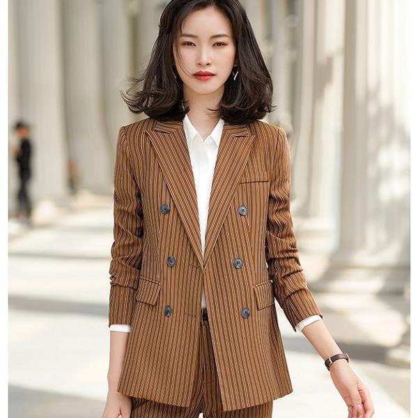 復古三排扣顯瘦條紋西裝上班外套[21S149-PF]美之札