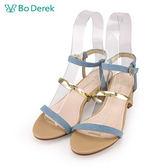 【Bo Derek 】金色一字細帶高跟涼鞋-牛仔藍