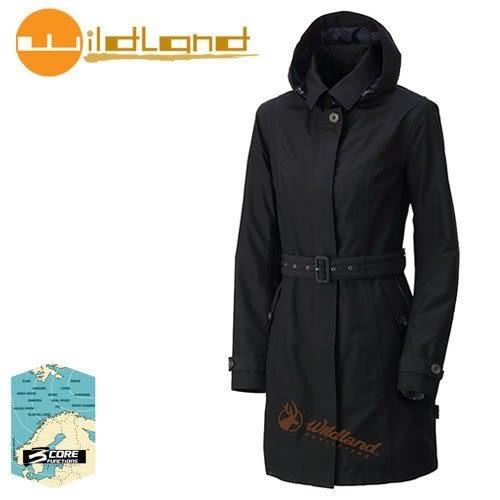 丹大戶外【Wildland】荒野 女款長版防水防風時尚外套 0A32909-54 黑色